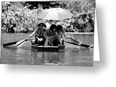 Tourist Boating Thru Tam Coc Bw Greeting Card