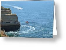 Tourist Boats And Cliffs In Algarve Greeting Card
