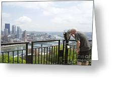 Tourist Looking Through Viewfinder Greeting Card