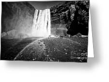 Tourists And Double Rainbow At Skogafoss Waterfall In Iceland Greeting Card