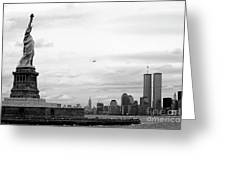 Tourists Visiting The Statue Of Liberty Greeting Card by Sami Sarkis