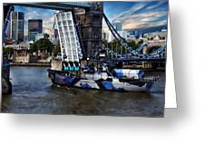 Tower Bridge And Boat Greeting Card
