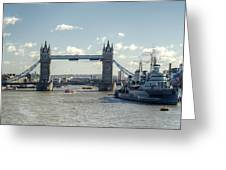 Tower Bridge And Hms Belfast 3 Greeting Card