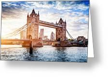 Tower Bridge In London, The Uk At Sunset. Drawbridge Opening Greeting Card