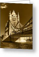 Tower Bridge In Sepia Greeting Card