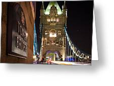 Tower Bridge Side Sign Greeting Card