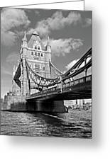 Tower Bridge Vertical Black And White Greeting Card
