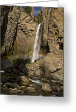 Tower Falls And Rainbow Greeting Card