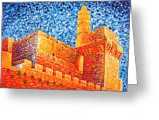 Tower Of David At Night Jerusalem Original Palette Knife Painting Greeting Card