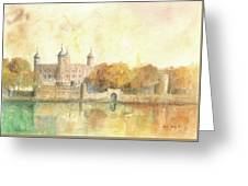 Tower Of London Watercolor Greeting Card