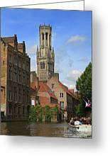Tower Of The Belfrey From The Canal At Rozenhoedkaai Greeting Card
