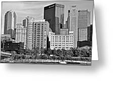 Tower Over Pittsburgh In Black And White Greeting Card