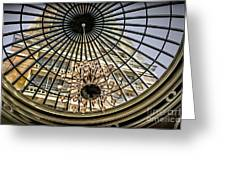 Tower Through Glass Dome In Bellagio Ceiling Greeting Card