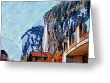 Towering Cliffs And Houses Greeting Card