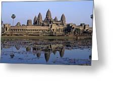 Towers Of Angkor Wat And Lake Greeting Card