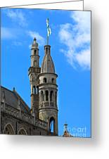 Towers Of The Town Hall In Bruges Belgium Greeting Card