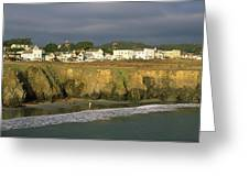 Town At The Seaside, Mendocino Greeting Card