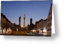 town center of Straubing Greeting Card