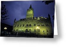 Town Hall At Night In Manchester Greeting Card