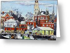 Town Hall Gloucester In Winter Greeting Card