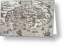 Town Map Of Alexandria In Egypt Greeting Card by Unknown