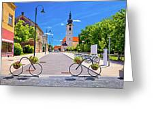 Town Of Bicycles Koprivnica Street View Greeting Card