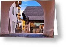 Town Of Kastelruth In Alps Street View Greeting Card