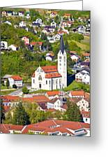 Town Of Krapina Church Vertical View Greeting Card