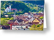 Town Of Krapina Rooftops View Greeting Card