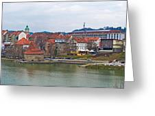 Town Of Maribor Riverfront Panoramic  Greeting Card