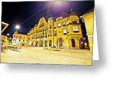 Town Of Ptuj Historic Main Square Evening View Greeting Card