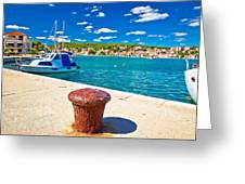 Town Of Tisno Harbor And Waterfront Greeting Card