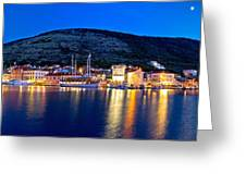 Town Of Vis Waterfront Evening Panorama Greeting Card