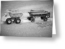 Toy Truck In Black And White Greeting Card