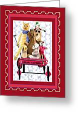 Toys In A Red Wagon Greeting Card