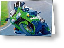 Track Day - Kawasaki Zx9 Greeting Card
