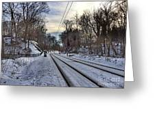 Tracks Into The Sunset Greeting Card