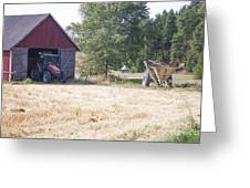Tractor At A Wheat Field Greeting Card