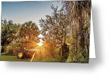 Tractor At Sunset Greeting Card
