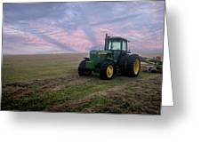 Tractor In A Field - Early Morning Greeting Card