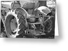 Tractor In Black And White  Greeting Card