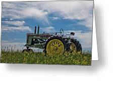 Tractor In Field Greeting Card