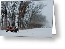Tractor In The Fog Greeting Card