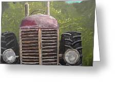 Tractor In The Garden Greeting Card