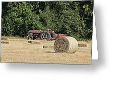Tractor In The Hay Field Greeting Card