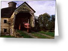 Tractor Parked Inside Of A Round Barn Greeting Card