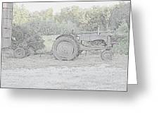 Tractor   Pencil Drawing Greeting Card