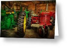 Tractors At Rest - John Deere - Mccormick - Farmall - Farm Equipment - Nostalgia - Vintage Greeting Card