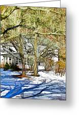 Traditional American Home In Winter Greeting Card by Lanjee Chee