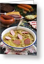 Traditional Dutch Pea Soup And Ingredients On A Rustic Table Greeting Card